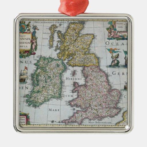 Map of Britain, 1631 Square Metal Christmas Ornament