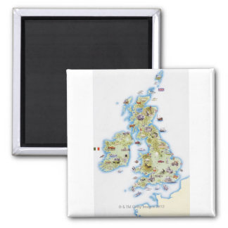 Map of British Isles 2 Inch Square Magnet