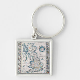 Map of British Isles 2 Silver-Colored Square Keychain