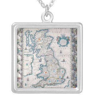 Map of British Isles 2 Silver Plated Necklace