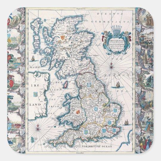 Map of British Isles 2 Square Sticker