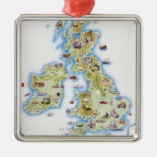 Map of British Isles Christmas Ornament