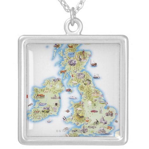 Map of British Isles Custom Necklace