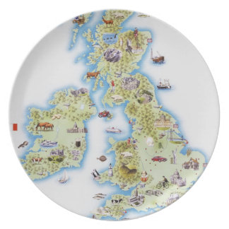 Map of British Isles Dinner Plate