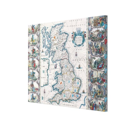 Map of British Isles Gallery Wrap Canvas