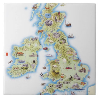 Map of British Isles Large Square Tile