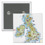 Map of British Isles Pinback Buttons