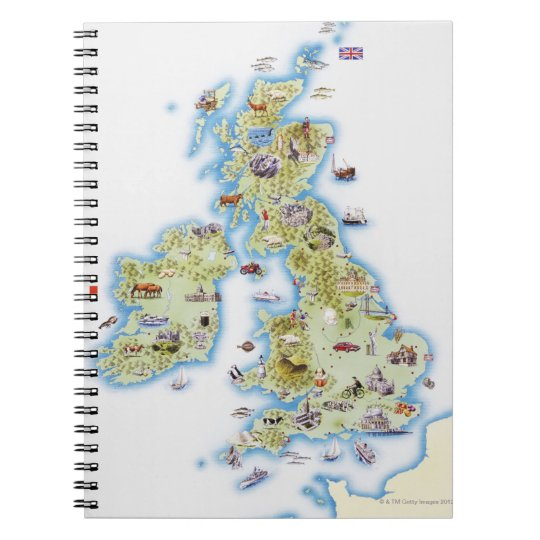 Map of British Isles Spiral Notebook