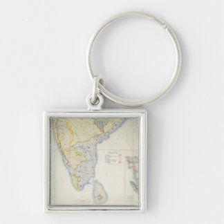 Map of British Southern India, 1872 Keychain
