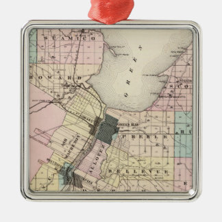 Map of Brown County, State of Wisconsin Christmas Tree Ornaments