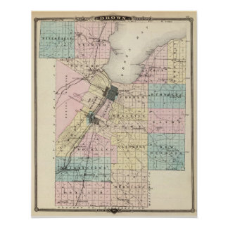 Map of Brown County, State of Wisconsin Print