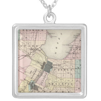 Map of Brown County, State of Wisconsin Silver Plated Necklace