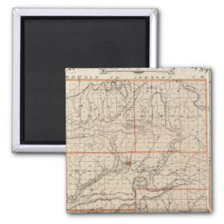 Map of Brown County with Plan of Nashville 2 Inch Square Magnet
