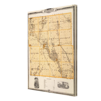 Map of Buchanan County, State of Iowa Canvas Print