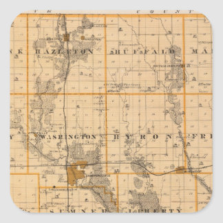 Map of Buchanan County, State of Iowa Square Sticker
