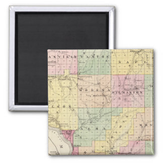 Map of Buffalo County and Village of Alma 2 Inch Square Magnet