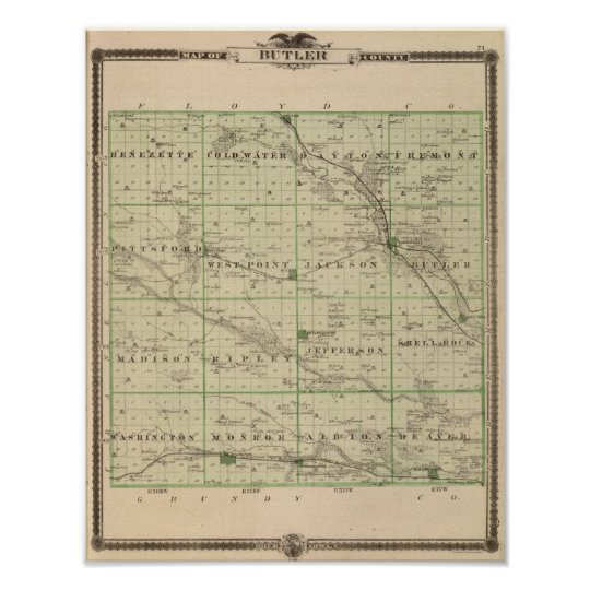 Map of Butler County, State of Iowa Poster
