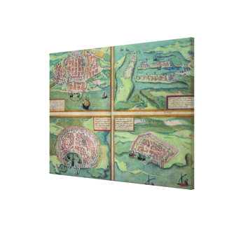 Map of Calais, Malta, Rhodes, and Famagusta, from Canvas Print