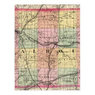 Map of Calhoun County, Michigan Postcard