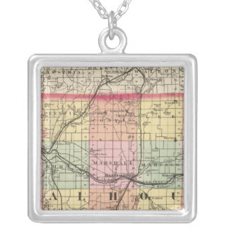 Map of Calhoun County, Michigan Silver Plated Necklace