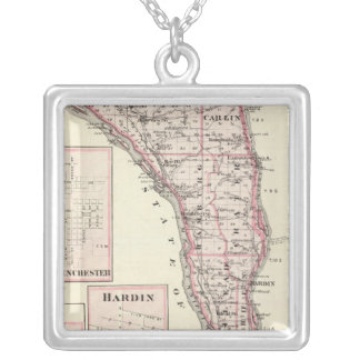 Map of Calhoun County, Winchester Silver Plated Necklace