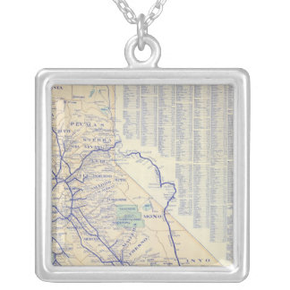 Map of California 4 Silver Plated Necklace