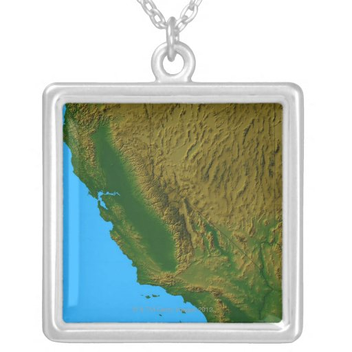 Map of California and Nevada 2 Personalized Necklace