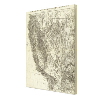 Map of California and Nevada Canvas Print