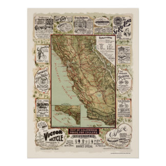 Map of California Bicycle Roads - 1895 Poster