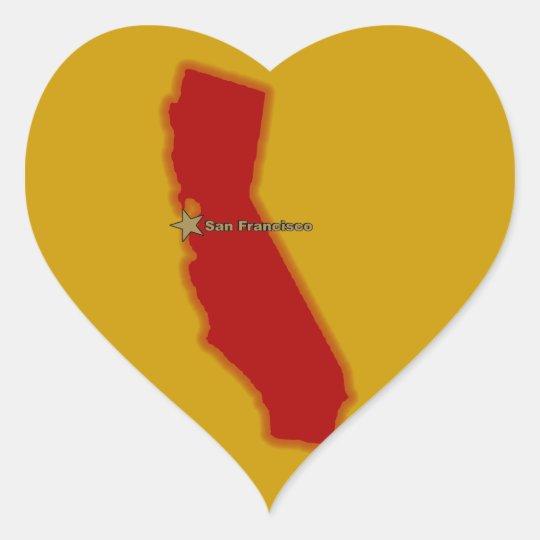 Map Of California Heart Sticker