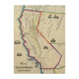 Map of California Wood Print