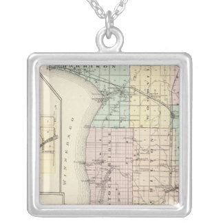 Map of Calumet County, State of Wisconsin Silver Plated Necklace