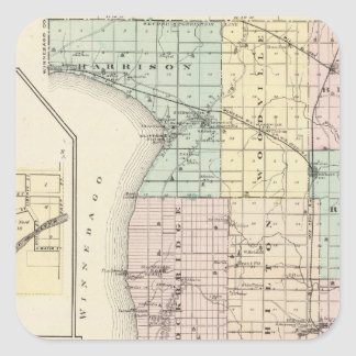 Map of Calumet County, State of Wisconsin Square Sticker