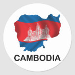 Map Of Cambodia Round Stickers