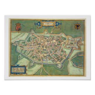 Map of Cambrai, from 'Civitates Orbis Terrarum' by Poster