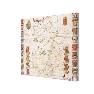 Map of Cambridgeshire published Amsterdam c 1647- Gallery Wrapped Canvas