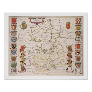 Map of Cambridgeshire published Amsterdam c 1647- Print