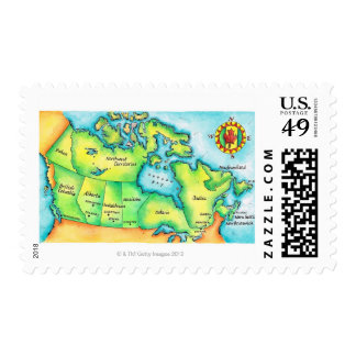 Map of Canada Postage Stamp