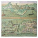 Map of Candia and Corfu, from 'Civitates Orbis Ter Ceramic Tile