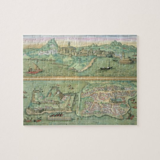 Map of Candia and Corfu, from 'Civitates Orbis Ter Jigsaw Puzzle