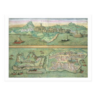 Map of Candia and Corfu from Civitates Orbis Ter Post Card