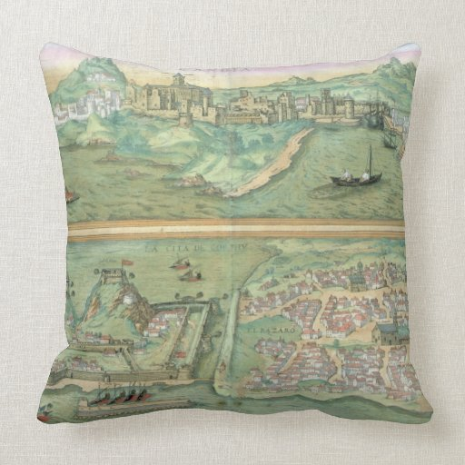 Map of Candia and Corfu, from 'Civitates Orbis Ter Throw Pillow