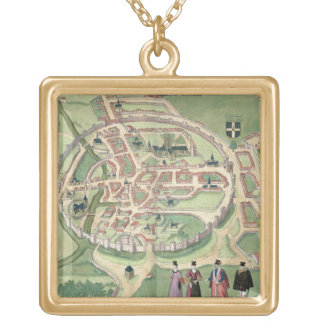 Map of Canterbury, from 'Civitates Orbis Terrarum' Gold Plated Necklace