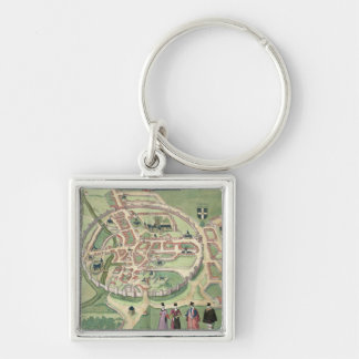 Map of Canterbury, from 'Civitates Orbis Terrarum' Silver-Colored Square Keychain