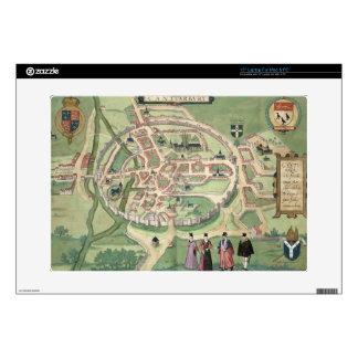 "Map of Canterbury, from 'Civitates Orbis Terrarum' Skin For 15"" Laptop"
