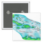 Map of Caribbean Islands 2 Inch Square Button