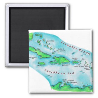 Map of Caribbean Islands 2 Inch Square Magnet