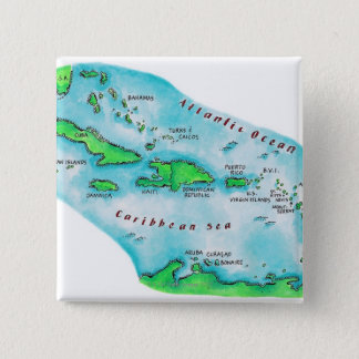 Map of Caribbean Islands Button