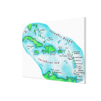 Map of Caribbean Islands Canvas Print