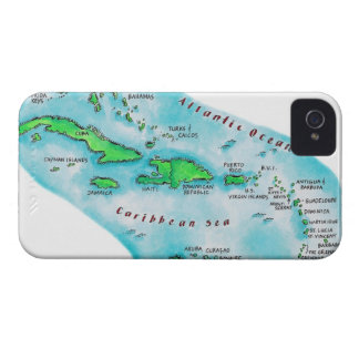 Map of Caribbean Islands iPhone 4 Covers